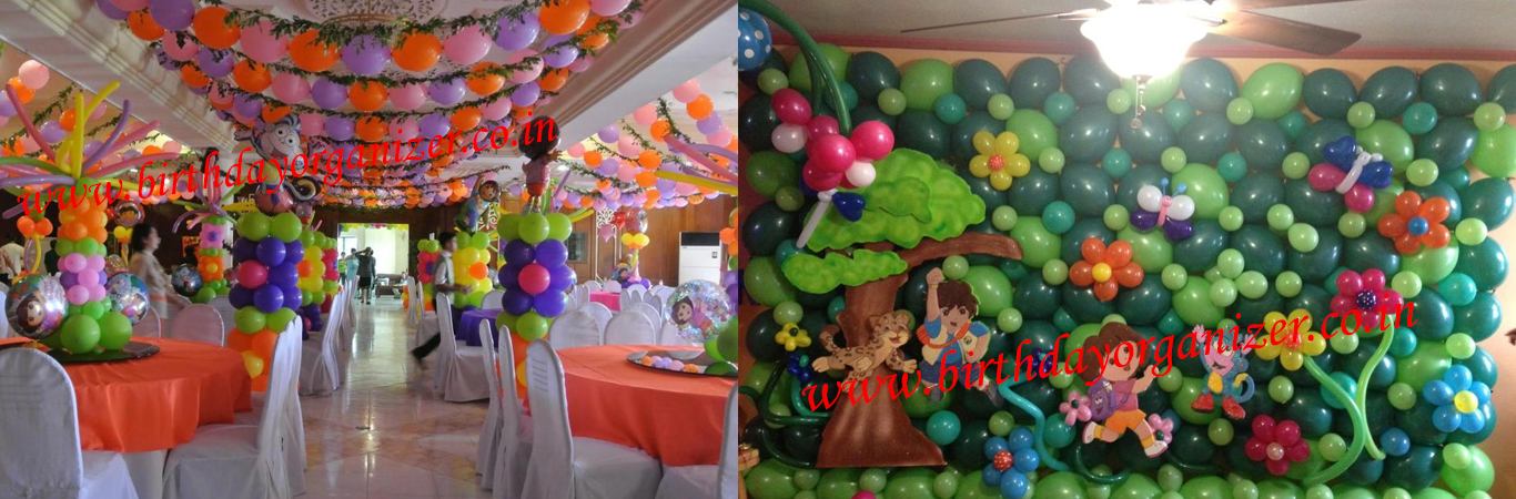 Dora Theme Party Decoration, Girls Theme Party Decoration in delhi, Girls Theme Party Planner in delhi, Girls Theme Party Organizer, Dora Theme Party Ideas