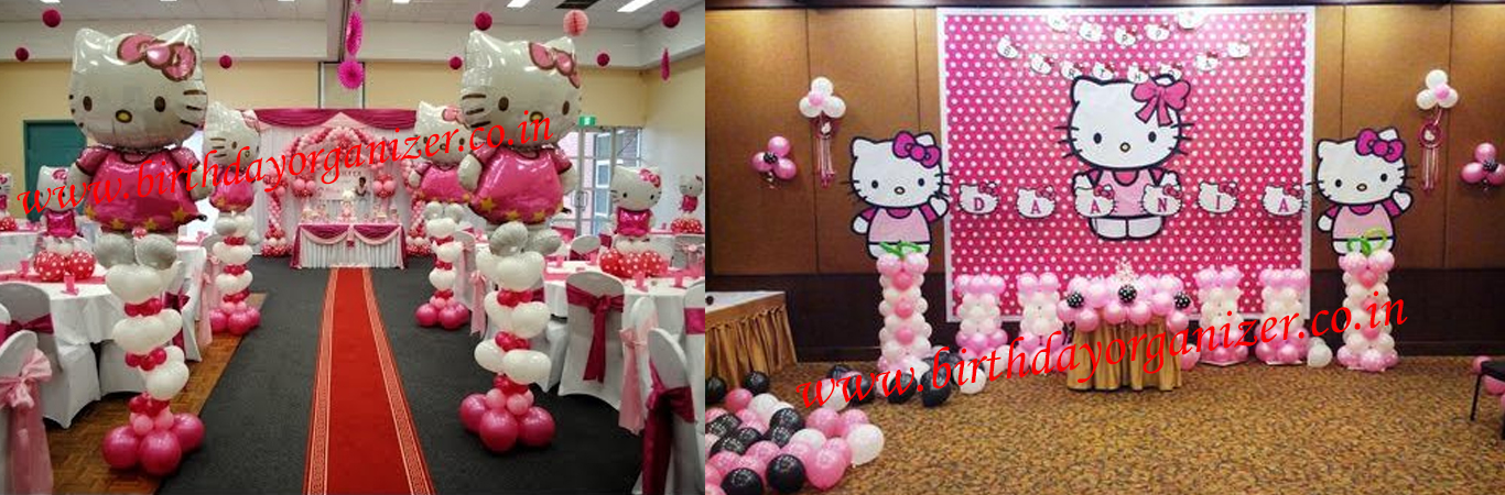 Hello Kitty Theme party decoration in Delhi/NCR, Girls Theme Party Organizer in Delhi/NCR, Hello Kitty Theme girls birthday party organizer in Delhi/NCR