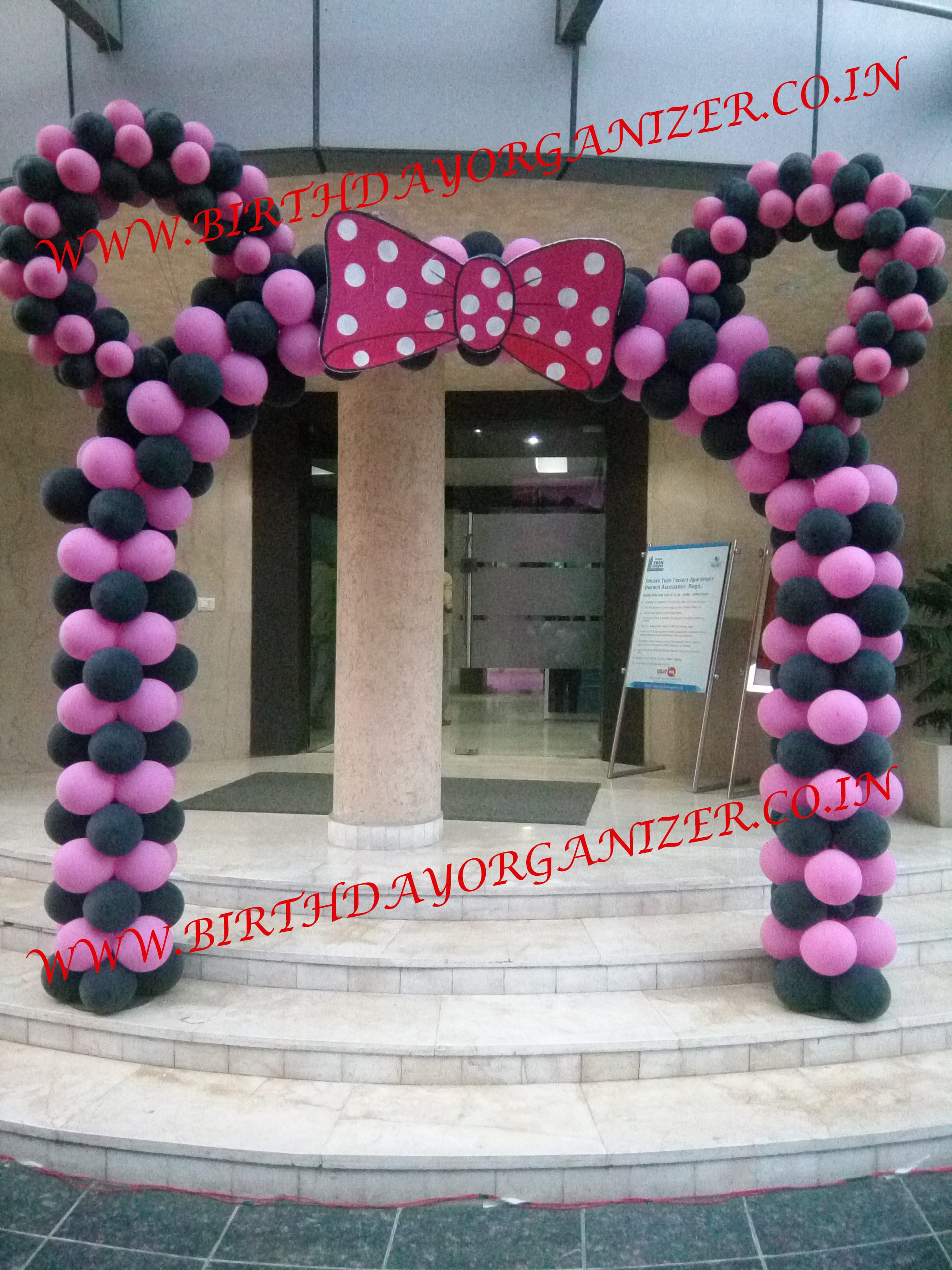 minnie mouse theme party balloon decoration in noida delhi ncr, minnie mouse theme party planner in noida delhi ncr gurgaon, minnie mouse theme decoration, minnie mouse theme party ideas